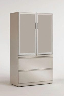 Trendway Pack 2 High Lateral Files  with Frosted Door Storage