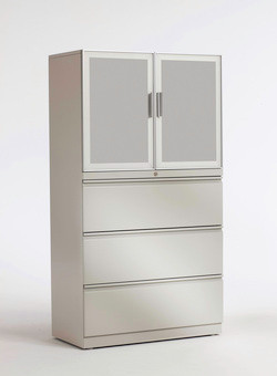 Trendway Pack 3 High Lateral Files  with Frosted Door Storage