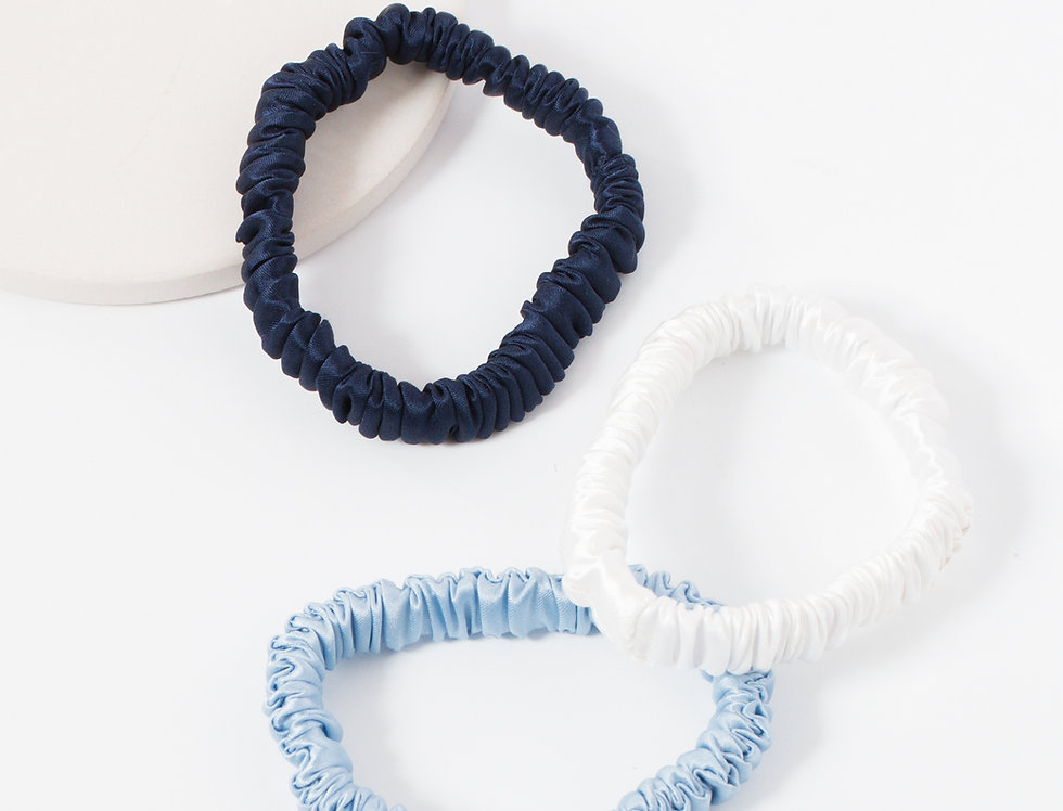 Blue Silk Scrunchies