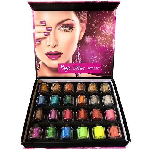 Magic Glitters Pigmentos para Decoração de Unhas 24 Unidades