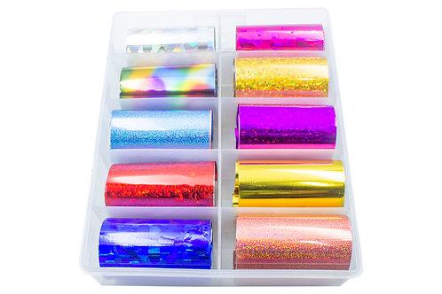 Nail Foil Unhas Colorido Decoração, Caixa com 10 Rolos Foil