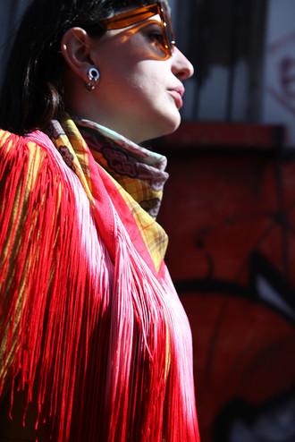 Megamendung - Wool/Silk fringed scarf