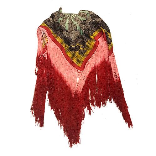 Rustic Megamendung - Bicolour fringed scarf