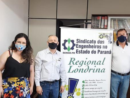 Engs. Joel Krüger e Ricardo Rocha em rodada de reuniões com Senge-Londrina e ASENGEST