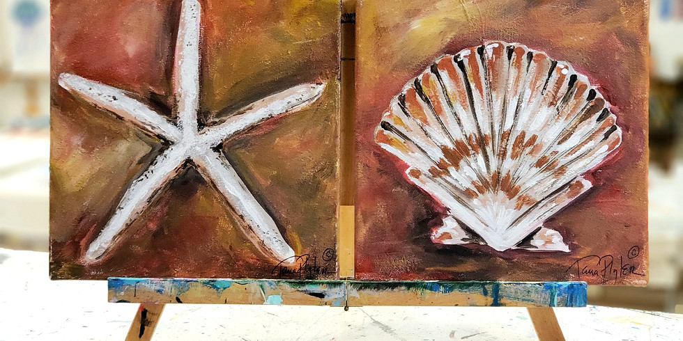 MARCH 17 | TWO CANVASES/SEA SHELLS | CHOOSE YOUR OWN COLORS | 6 PM | $35 SET