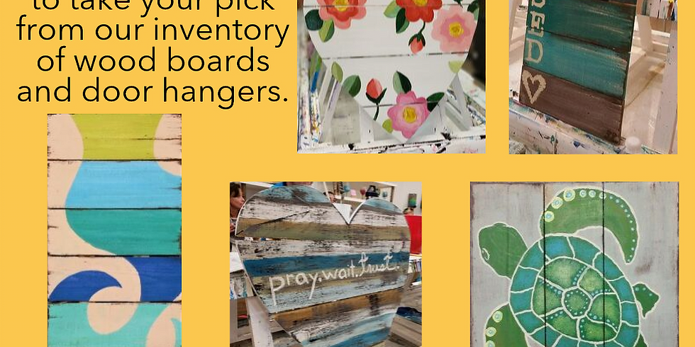 OPEN STUDIO: PALLET WOOD WEDNESDAY | CHOOSE YOUR BOARD | CHOOSE YOUR DESIGN/COLORS | OCTOBER 5 | 10 - 12:30 pm | $40