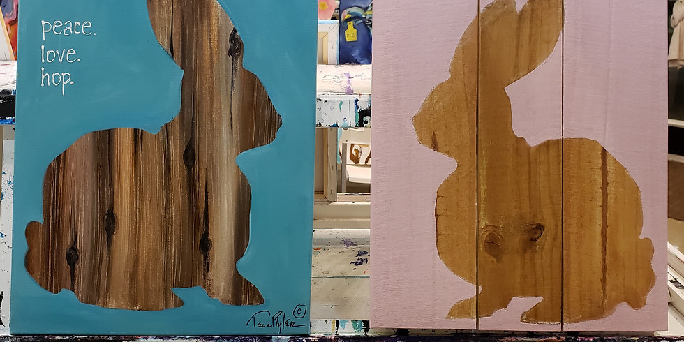 Bunnies on canvas($35) or wooden pallet ($40)!