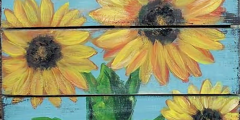 PALLET BOARD SUNFLOWERS (CHOOSE YOUR OWN COLORS)   March 21 @ 6:00 pm - 8:30 pm  $40.00