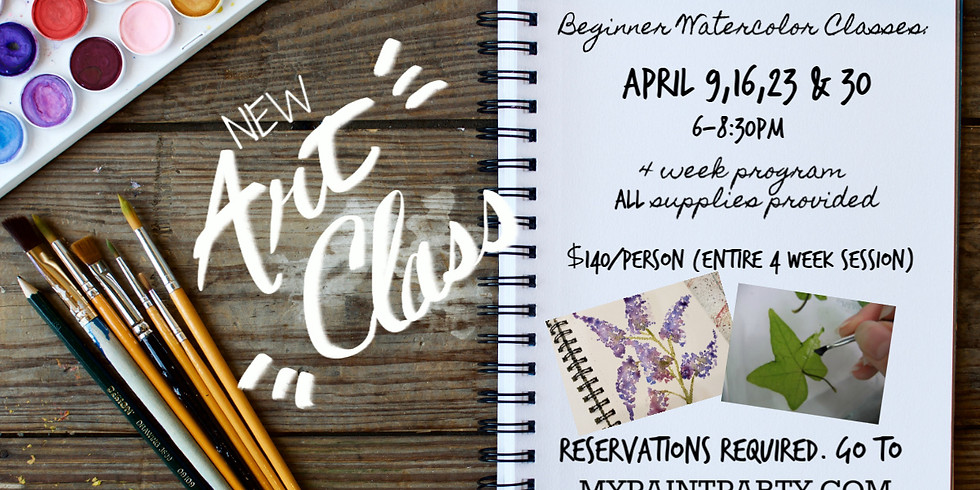 BEGINNER WATERCOLORS   APRIL 9 @ 6 PM   FOUR WEEK SERIES   ALL SUPPLIES PROVIDED