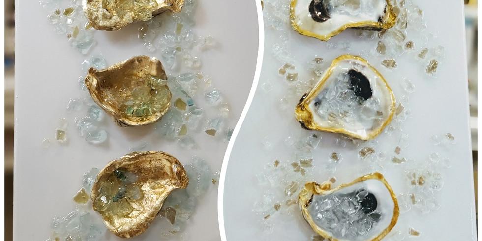 GOLD LEAF OYSTER SHELLS w/GLASS & RESIN