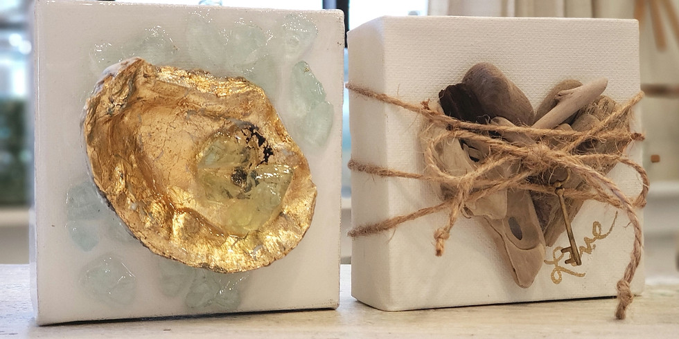 2 MINI CANVASES w/ OYSTER SHELL, GOLD LEAF & DRIFTWOOD