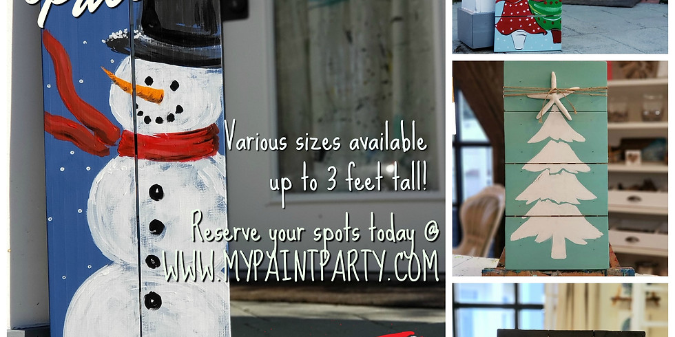 DECEMBER 10   6 PM   $45-55   PALLET BOARD ART! CHOOSE YOUR OWN COLORS AND SIZE