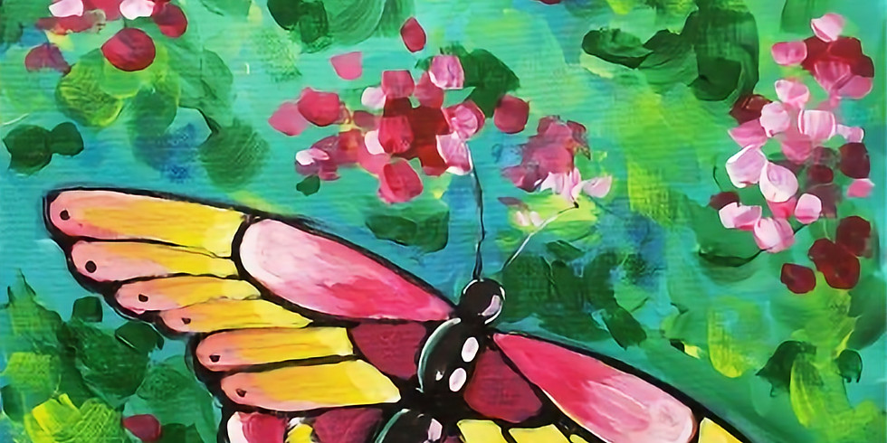 BUTTERFLY ON FLOWERS | APRIL 13 @ 6 PM | $35 | CHOOSE YOUR OWN COLORS!