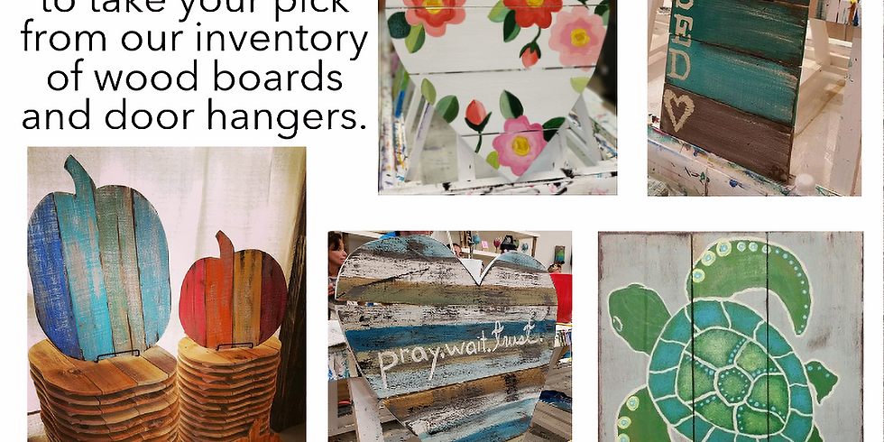 OPEN STUDIO: PALLET WOOD WEDNESDAY | CHOOSE YOUR BOARD | CHOOSE YOUR DESIGN/COLORS | JULY 24 | 6 - 8:30 pm | $40
