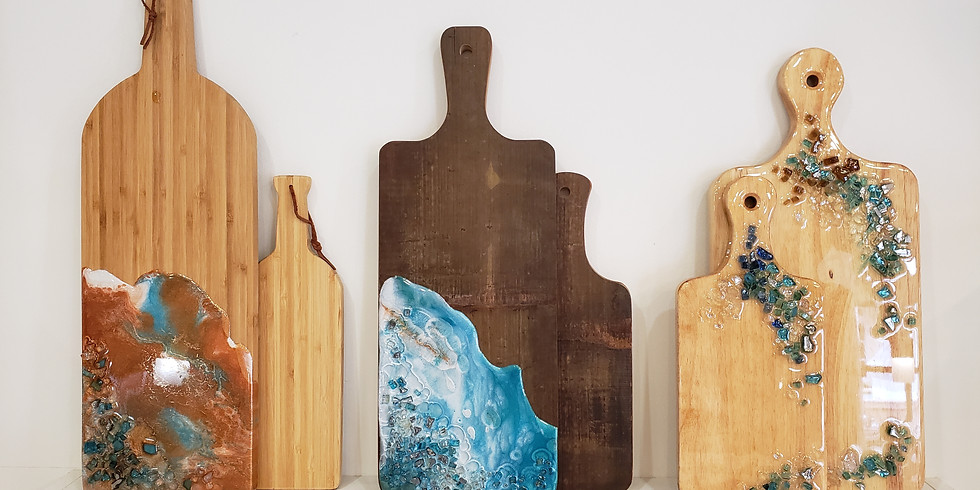 GLASS AND EPOXY RESIN: CHARCUTERIE & CHEESE BOARDS | APRIL 27 @ 6PM | $35-$50  (1)