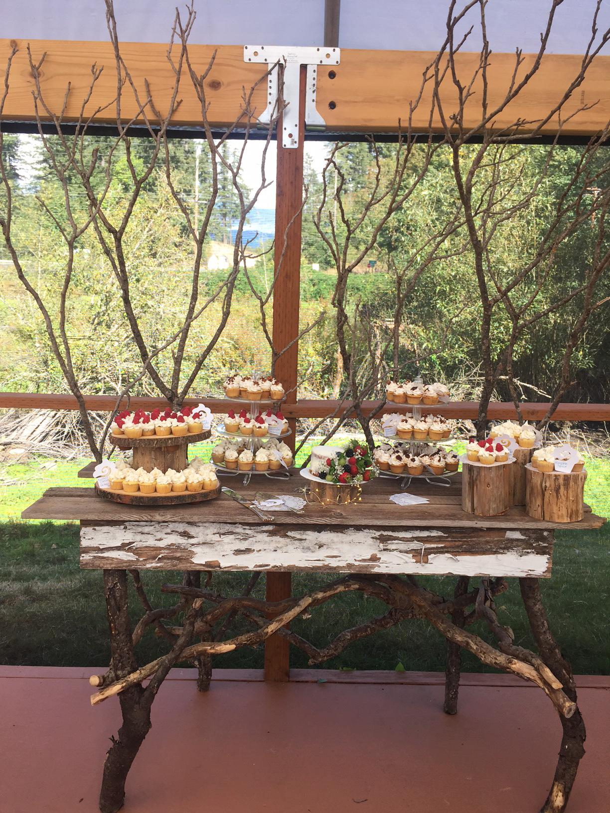 Our fun, twiggy cake table