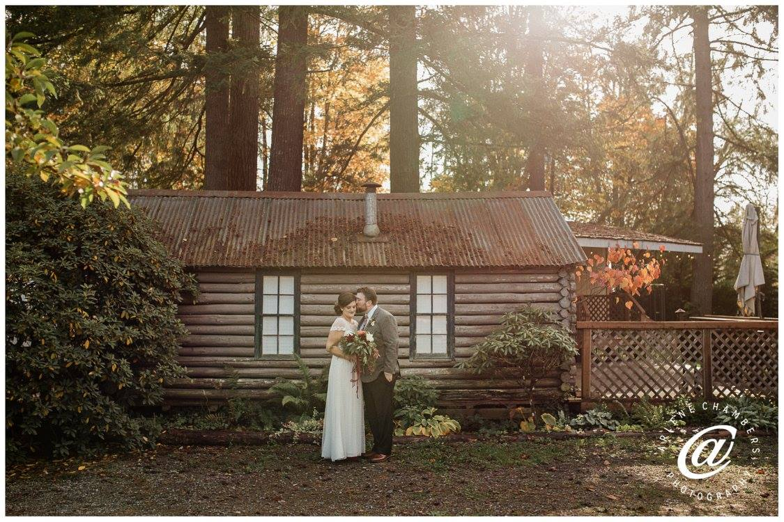 Laura & Tyler by the bridal cabin