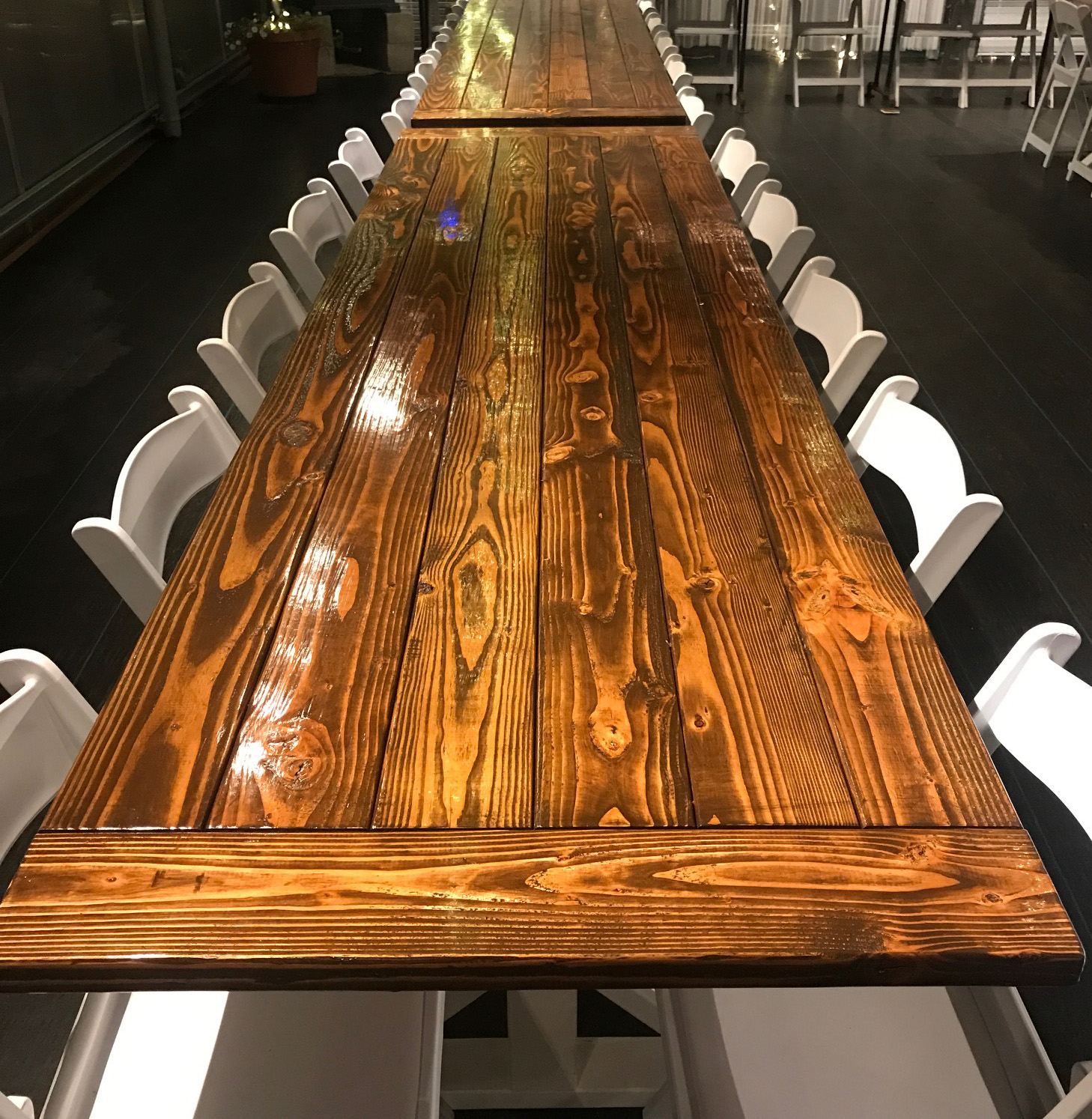 Glowing natural wood tables
