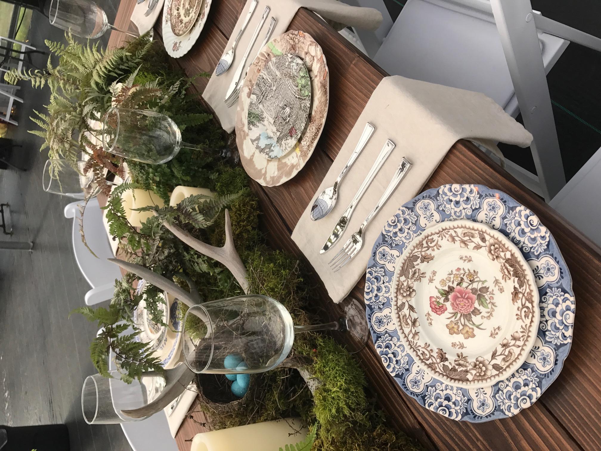 Moss/Fern plantings, Farm tables