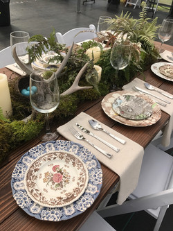 Moss/Fern plantings, Farm tables