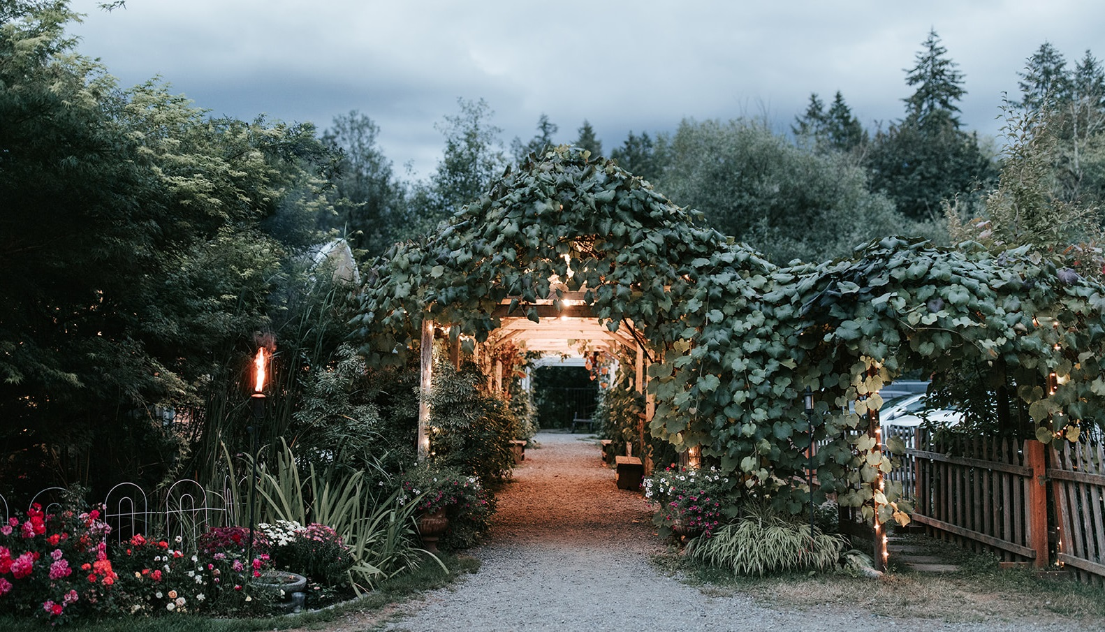 The arbor on a summer evening