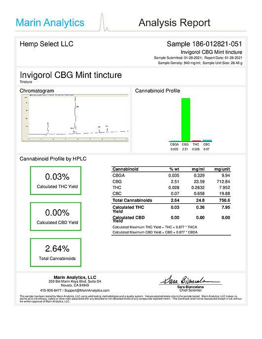 Hemp Select - Mint CBG Tincture COA-page