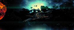 Gantarian Ship passes exploding planet