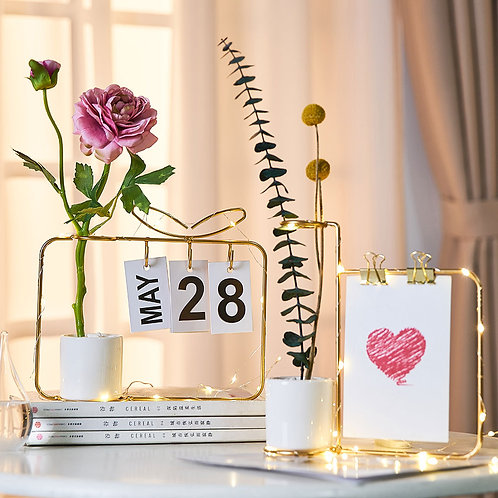 Nordic Style Rose Golden Metal Art Wire Vases for Flowerpot