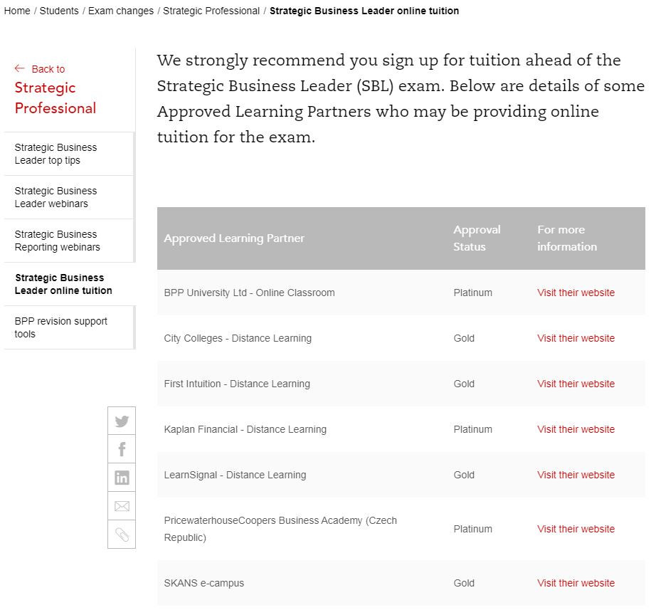 ACCA Approved Learning Partners on SBL tuition