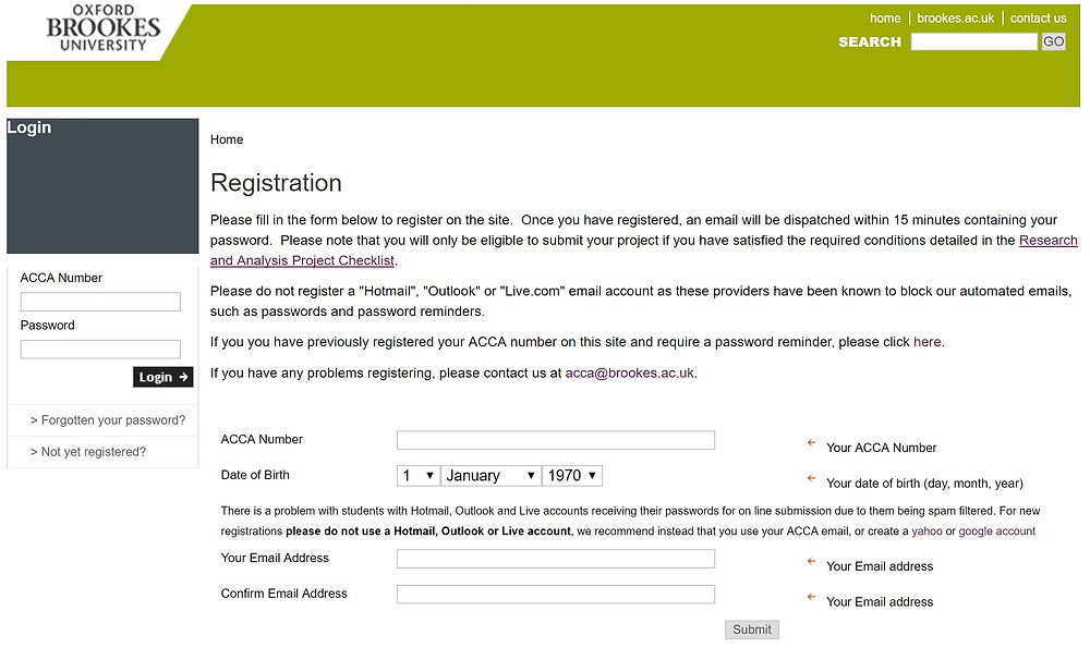Oxford Brookes University Registration Page