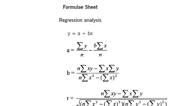 ACCA Management Accounting (MA, F2) Formulae Sheet