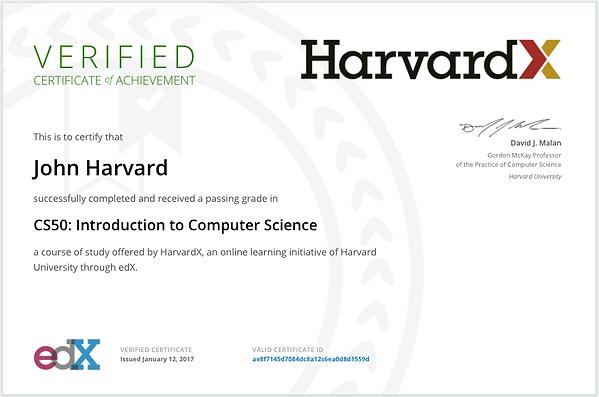 edX certificate - Harvard