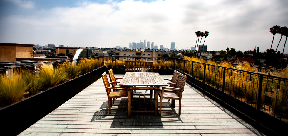 View of Downtown LA from the rooftop deck of Mariposa