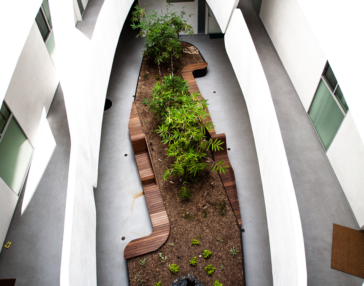 Looking down to interior garden from 4th floor