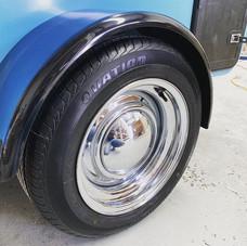 "Standard 15"" chrome wheels on the Swell,"