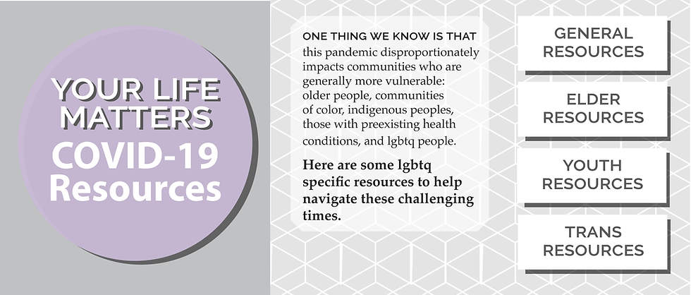 One thing we know is that this pandemic disproportionately impacts communities who are generally more vulnerable: older people, communities of color, indigenous peoples, those with preexisting health conditions, and lgbtq people. Here are some lgbtq specific resources to help navigate these challenging times.