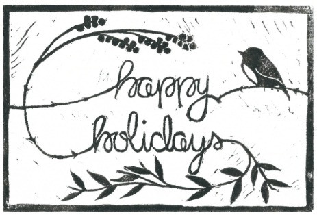 "Lino-Print with a bird, berries, and leaves. Text says ""happy holidays""."