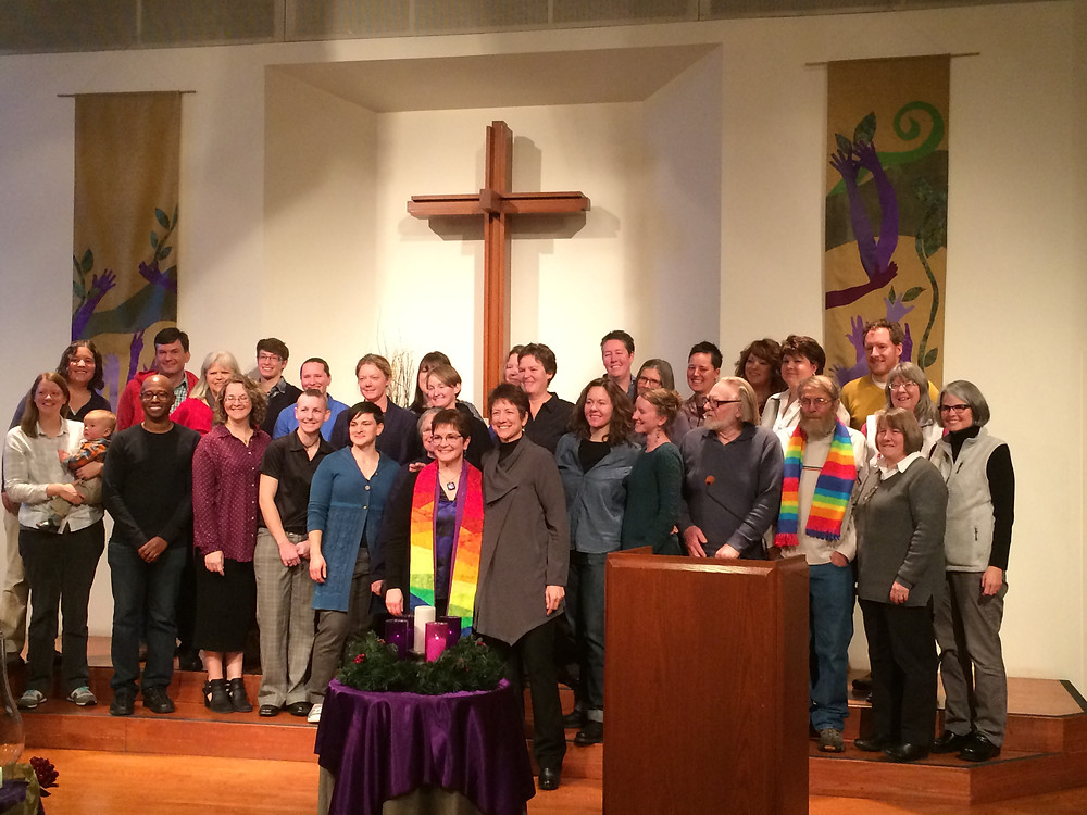 Theda Good celebrates her ordination with members of the Denver queer community