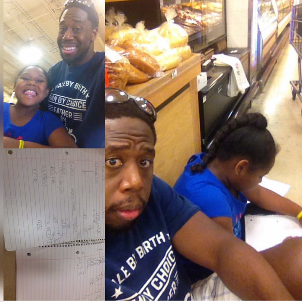 D. David Bryant and daughter calculating cost of groceries at the store