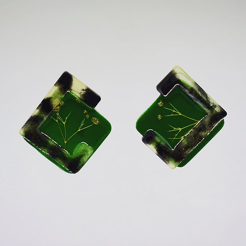 Forest Green and Tortoise Earrings
