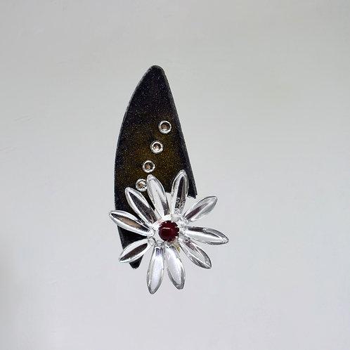 Beaded Glass Flower Earrings