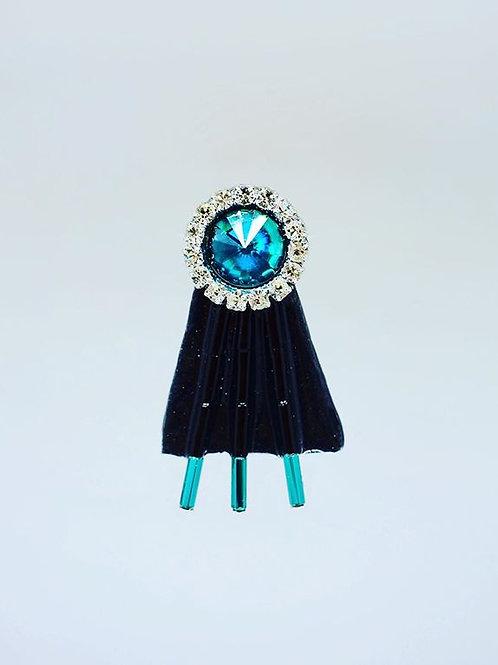 Blue Button Rhinestone Earrings