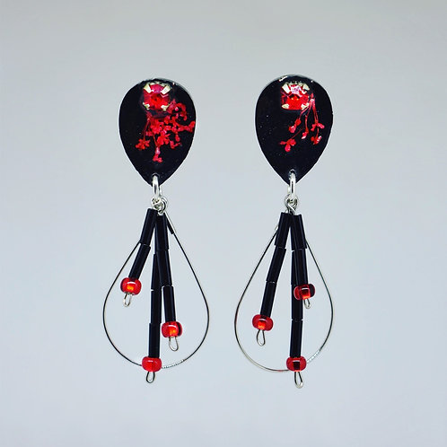 Black and Red Teardrop Earrings