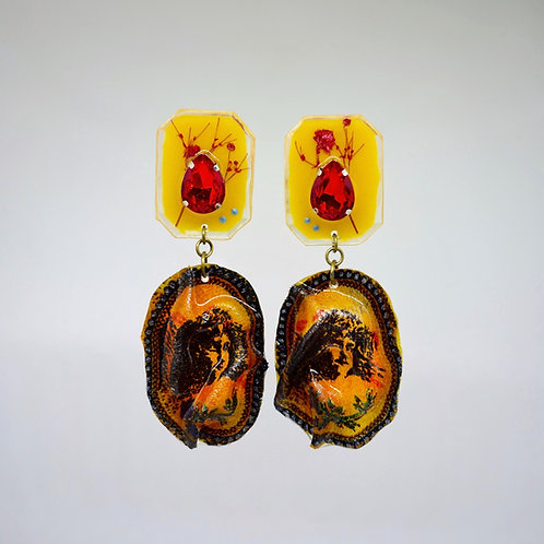 Yellow Cameo Print Earrings