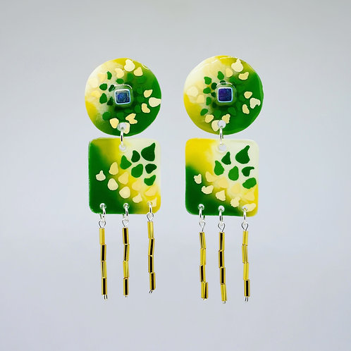 Lime and Forest Dangle Earring