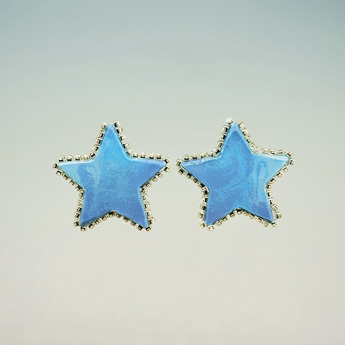 Blue Star with White Rhinestones Earrings