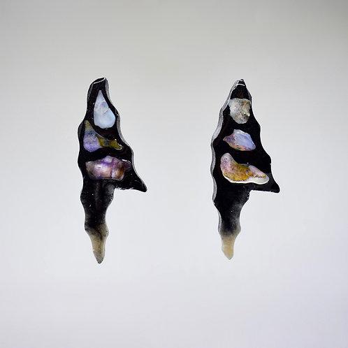 Black and Stone Earrings