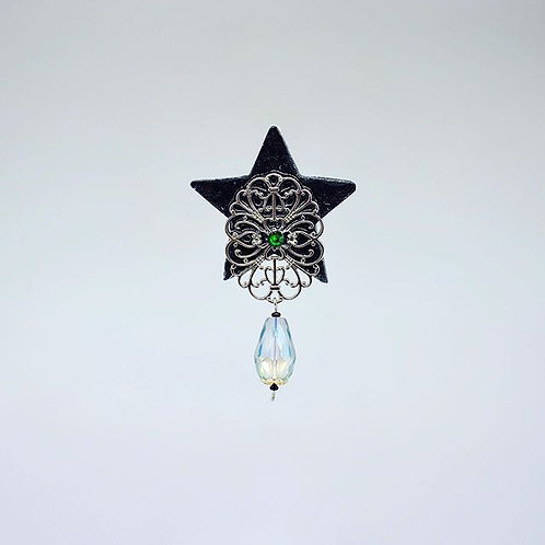 Star with Silver Accent and Glass Bead Earrings