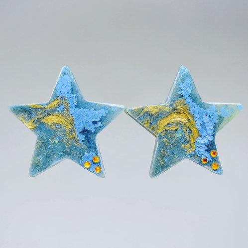 Gold and Blue Star earrings