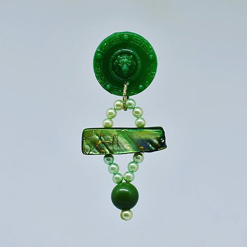 Lion Button with Green Stone Earrings
